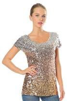 Metme Women Vintage V Neck Tank Tops Loose Flashy Sequin Sparkly Vest Tops