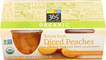 365 Everyday Value, Organic Diced Peaches, Yellow Cling, 4 ct