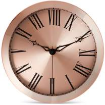 Bernhard Products Large Modern Wall Clock 14-Inch Rose Gold Metal - Silent Non Ticking Quartz Battery Operated Clocks Decorative Roman Numerals for Home Living Room Bedroom Office