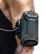 Sports Armband: Cell Phone Holder Case Arm Band Strap with Zipper Pouch Mobile Exercise Running Workout for Apple iPhone 6 6S 7 X Plus Touch Android Galaxy S6 S7 S8 S9 Note 5 Edge Pixel (Matte Black)