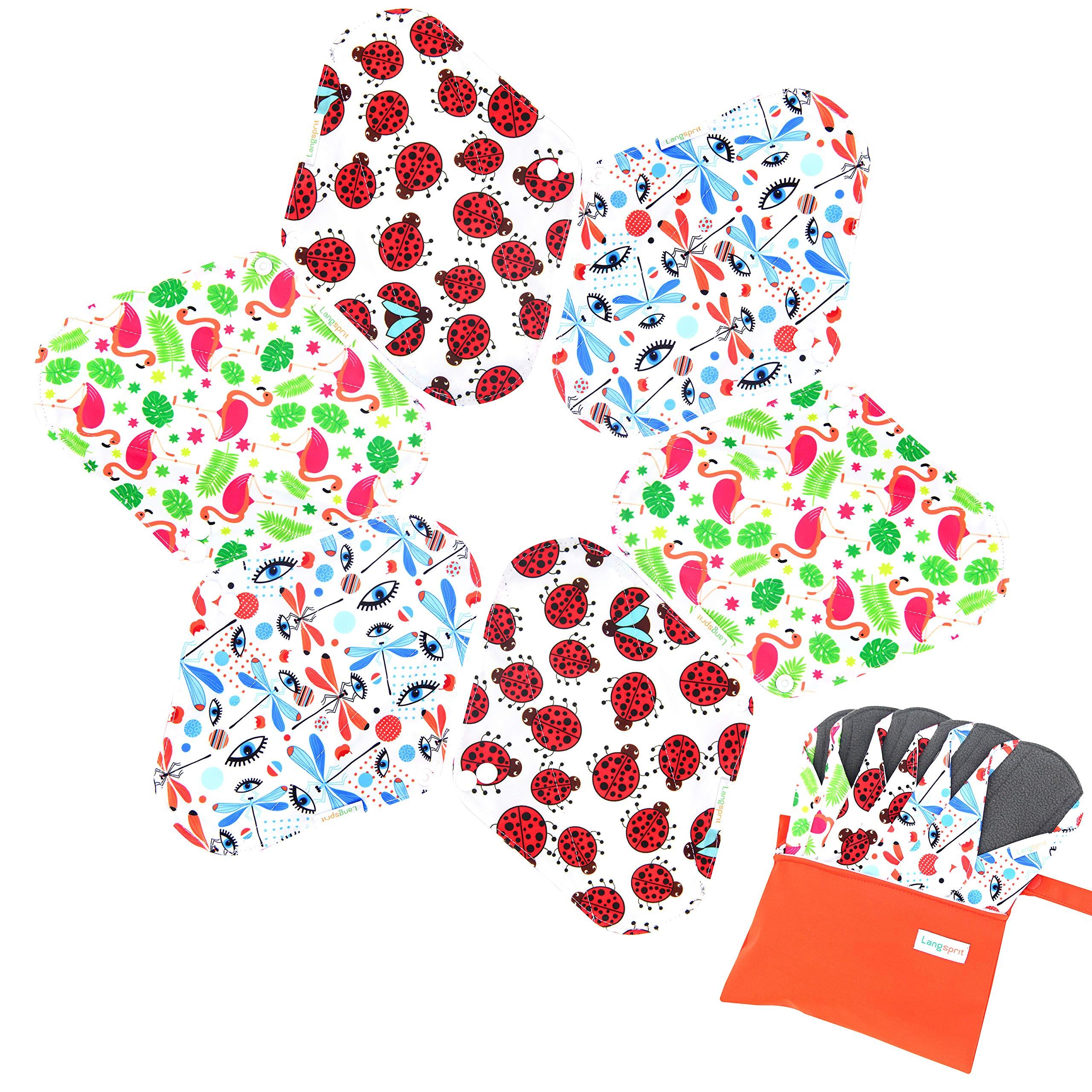 7pcs Set 1 pc Bonus Free Mini Wet Bag +6pcs Absorbent Reusable Sanitary Pads/Washable Bamboo Cloth Menstrual Pads (M,Gorgeous)