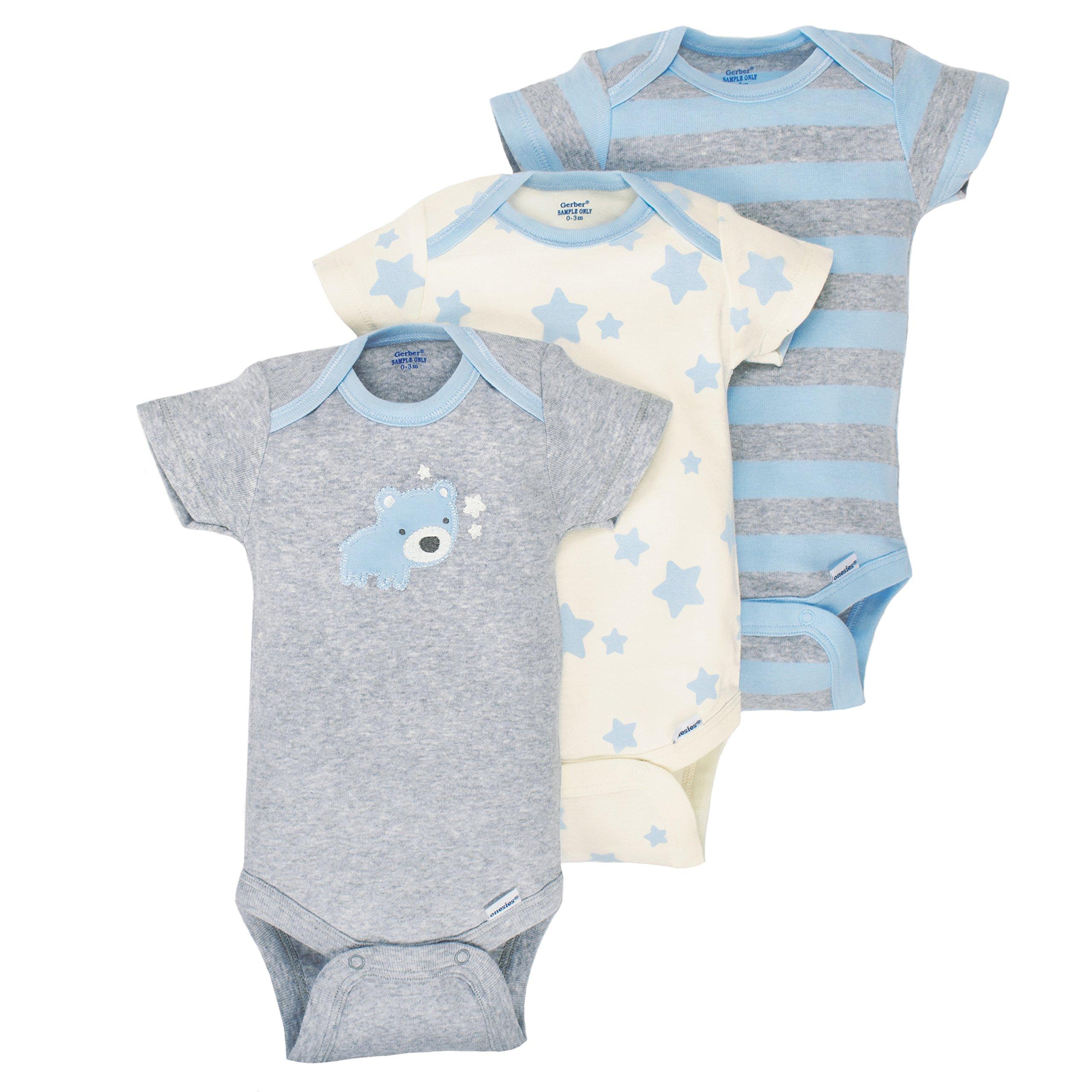 GERBER Baby Boys' 3-Pack Organic Short-Sleeve Onesies Bodysuit