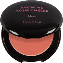 Natural Glow Powder Blush Makeup: Elizabeth Mott Show Me Your Cheeks Blush Powder - Buildable & Blendable Cheek Blush with a Light Shimmer - Paraben & Cruelty Free - Compact Blusher, Peach Pink