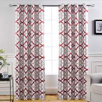 DriftAway Alexander Thermal Blackout Grommet Unlined Window Curtains Spiral Geo Trellis Pattern Set of 2 Panels Each Size 52 Inch by 96 Inch Red and Gray