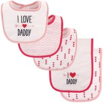 Luvable Friends Unisex Baby Bib and Burp Cloth Set, Girl Daddy, One Size