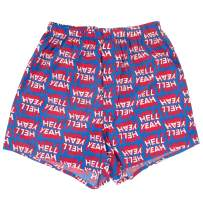 ROCK ATOLL Men's Fun Typography Hell Yeah Print Blue Cotton Boxer Shorts S-XXL