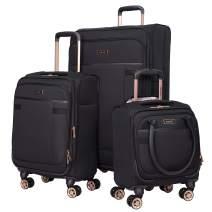 kensie 3 Piece Luggage Set, Black with Rose Gold