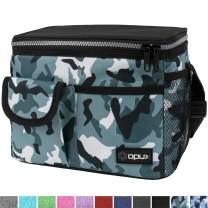 OPUX Leakproof Lunch Bag, Insulated Lunch Box for Adult Men Women | Medium Durable Cooler Tote Bag for Work School | Lunch Pail with Shoulder Strap, Pocket for Kids Boys Girls| Fits 8 Cans, Camo Green