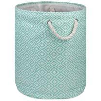 DII Geo Diamond Woven Paper Laundry Hamper or Storage Bin, Large Round, Aqua