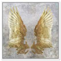 """Oliver Gal My Golden Wings' Framed Abstract Wall Decor, 20"""" x 20"""", Gold"""