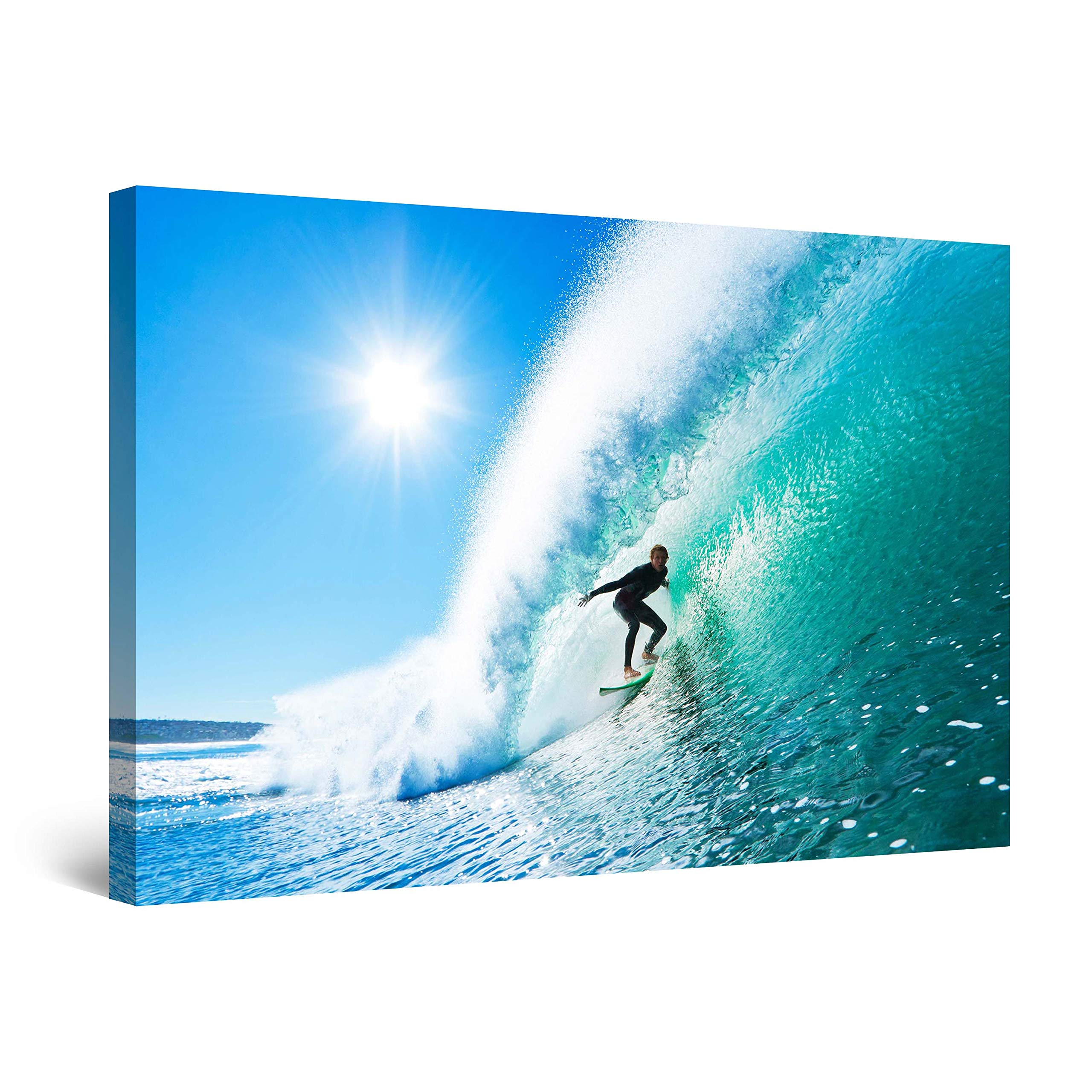 Startonight Wall Art Canvas Surfer on The Perfect Wave, Beach Framed 24 x 36 Inches