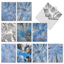 10 Assorted 'Snow Tops' Season's Greetings Cards with Envelopes Small 4 x 5.12 inch, Holiday Note Cards with Snow-Covered Branches and Tree Tops, Stationery Set for Holidays, Winter, Parties M9632XSG