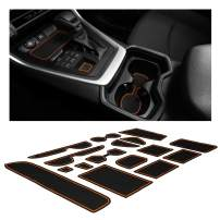 CupHolderHero Compatible with Toyota RAV4 Accessories 2019-2021 Premium Custom Interior Non-Slip Anti Dust Cup Holder Inserts, Center Console Liner Mats, Door Pocket Liners 15-pc Set (Orange Trim)