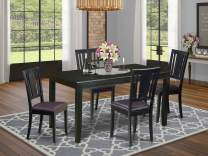 East West Furniture DULE5-BLK-LC 5-Pc Dinette Set Included a Rectangular Dining Table and 4 Kitchen Chairs - Faux Leather Dining Chairs Seat & Panel Back - Black Finish
