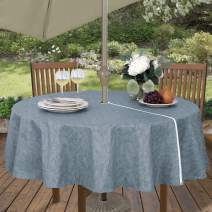 """Sonoma Damask Stain Resistant and Spill Proof with Flannel Backing Vinyl Tablecloth for Spring/Summer/Party/Picnic, Slate Blue, 70"""" Round Umbrella Zip"""