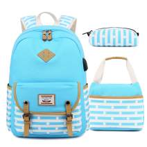 Backpacks for Teen Girls, High School and College, Backpack +Lunch Bag + Pencil Case, 3 in 1 Bags (Water Blue)
