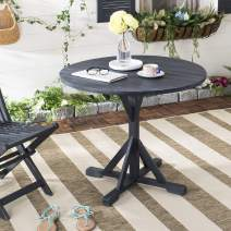 Safavieh PAT6735K Outdoor Collection Arcata Grey Round Accent Table, Dark Slate Gray