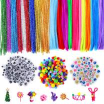 770Pcs Pipe Cleaners Set for Kids, Craft Supplies Set Included 200Pcs Pipe Cleaners, 320Pcs Self-Sticking Wiggle Googly Eyes and 250Pcs Pompoms for DIY Crafts Decorations School Art Projects