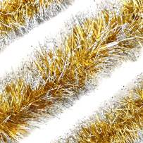 SlimmKISS 3Pcs x 6.6ft Christmas Tinsel Garland, Christmas Tree Ornaments Home Party Classic Shiny Sparkly Ceiling Hanging Decorations,4 inch Wide Filaments Glod Silver Edge.