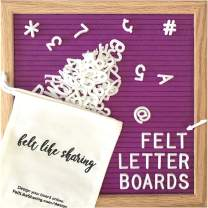 Purple Felt Letter Board 10x10 Inches. Changeable Letter Boards Include 300 White Plastic Letters and Oak Frame.