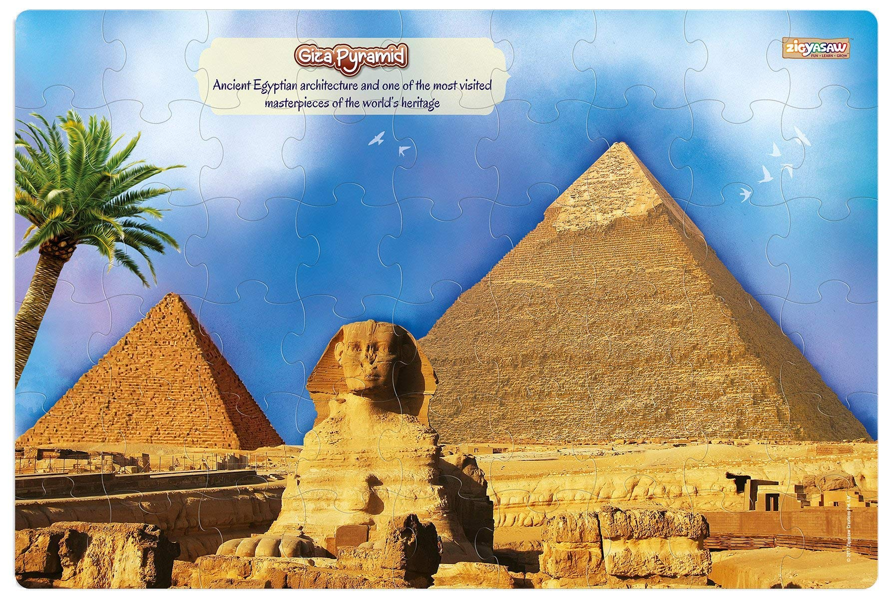 ZiGYASAW Giant Jumbo Jigsaw Floor Puzzle (Wipe-Clean Surface, Wonders of The World Great Gift for Girls and Boys - Best for 3,4,5,6,7,8 Year Olds and Up) (Giza Pyramid Puzzle)