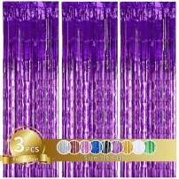 3Pcs Purple Metallic Tinsel Foil Fringe Curtains,3ft x 8ft Purple Photo Booth Backdrop Curtain,Photo Booth Props,Ideal Bachelorette Party Supplies,Birthday,Graduation, Christmas,New Year Decorations