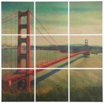 """Stone & Beam Modern 9-Piece Mural of Golden Gate Bridge Wall Art on Wood, 48"""" x 48"""""""
