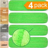 """Microfiber Mop Pad Replacement Kit - 4 Pack Reusable Washable MF Mop Head Fits Best 14-18 Inch - Thick Pads for Spray Wet Dust Dry Flat 18"""" Inch Mops, Bona, Bruce, Rubbermaid, Libman, Zflow + More"""