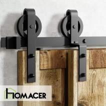 Homacer Sliding Barn Door Hardware Single Track Bypass Double Door Kit, 8FT Flat Track Black Wheel Design Roller, Black Rustic Heavy Duty Interior Exterior Use