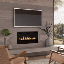 """Finefind Electric Fireplace 36"""" Recessed 3.86"""" Ultra Thin Insert, Wall Mounted and in Wall Easy Installation with Remote Control, 750W/1500W, Low Noise (Fake Fire)"""