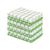 DAILY HOME ESSENTIALS 100% Cotton Terry Dishcloth, Quick Dry Kitchen Rag | Absorbent Cafe, Bar & Restaurant Cleaning WashCloth | 8 Pack 12 x 12 inch - Green