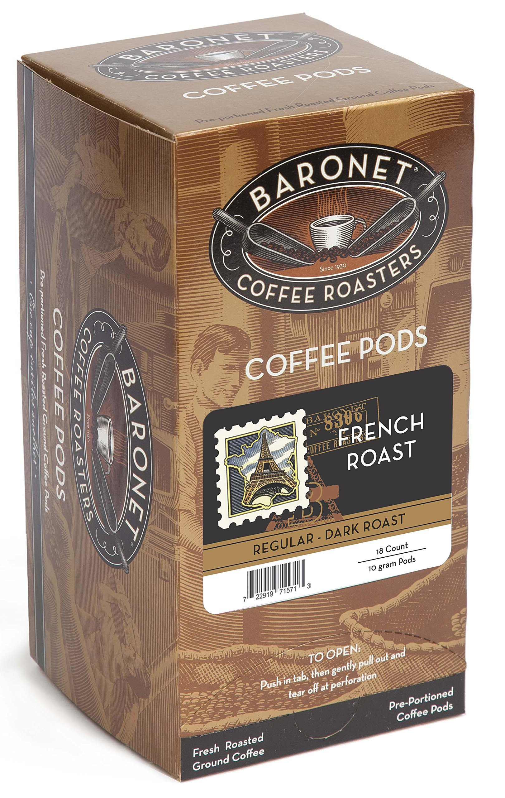 Baronet Coffee French Dark Roast, 18-Count Coffee Pods (Pack of 3)