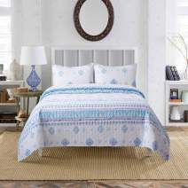 Soul & Lane Morning Glory 100% Cotton Watercolor 2-Piece Quilt Set - Twin with 1 Sham   Modern Quilted Bedspread