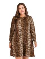 OEUVRE Women's Leopard Tunic Dress Shift Jersey Party Street Style