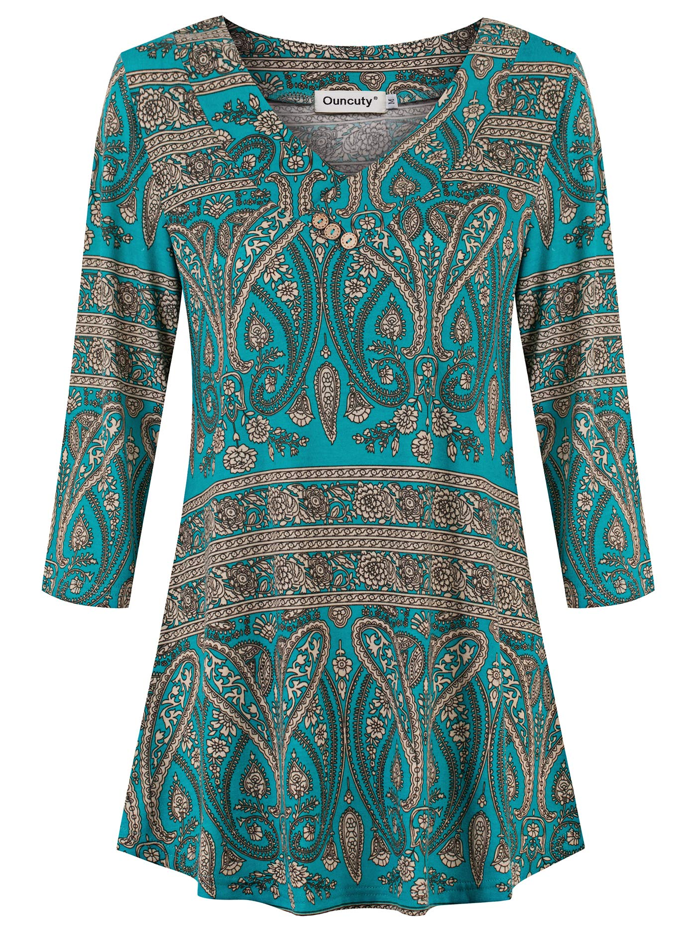 Ouncuty Womens 3/4 Sleeve Shirt Casual V Neck Floral Dressy Tunic Blouse Tops