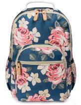 H HIKKER-LINK Womens Pink Floral Laptop Backpack College Bookbag PVC Travel Hiking Daypack Blue