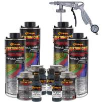 Custom Coat Federal Standard Color # 36118 Battleship Dark Gray T89 Urethane Spray-On Truck Bed Liner, 1 Gallon Kit with Spray Gun and Regulator - Durable Textured Protective Coating - Easy Mix