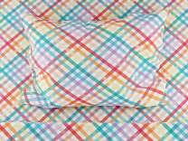Where The Polka Dots Roam Queen Size Bed Sheets Rainbow Gingham 4 Piece Set │ Blue and White, Unisex, Flexible Microfiber, Durable, Wrinkle-Resistant Bedding │ Boys, Girls, Baby, Kids, Toddler, Teen