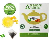 Teamonk Sozen Orange Green Tea Bags- 10 Tea Bags | Orange Tea Bags for Detoxification | Boosts Metabolism | 100 % Pure Natural Fruit Tea | No Additives