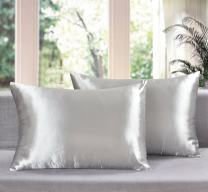 Aiking Home Luxury Shiny Satin Pillowcases (Pack of 2), Size 20''x30'', Queen-Silver