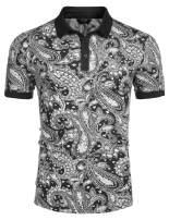 COOFANDY Men's Paisley Polo Shirt Casual Short Sleeve Floral Print Shirt