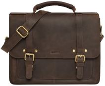LEABAGS Omaha genuine buffalo leather briefcase in vintage style - Muskat