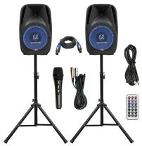 """Pair Alphasonik All-in-one 10"""" Powered 1000W PRO DJ Amplified Loud Speakers with Bluetooth USB SD Card AUX MP3 FM Radio PA System LED Lights Karaoke Mic Guitar Amp 2 Tripod Stands Cable and Microphone"""