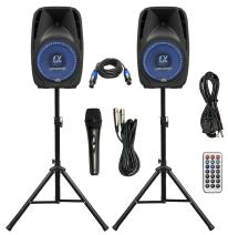 """Pair Alphasonik All-in-one 12"""" Powered 1500W PRO DJ Amplified Loud Speakers with Bluetooth USB SD Card AUX MP3 FM Radio PA System LED Lights Karaoke Mic Guitar Amp 2 Tripod Stands Cable and Microphone"""