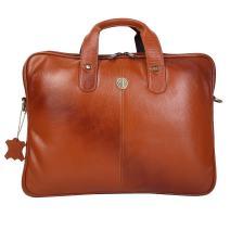Hammonds Flycatcher Handmade Briefcase Top Grain Leather Laptop Bag Messenger Shoulder Bag for Business Office 14 inch Laptop Coffee Tan