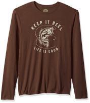 Life is Good Men's Long Sleeve Smooth Tee Keep It Reel Bass Rchbrn T-Shirt,