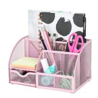 Exerz Mesh Desk Organizer Office with 7 Compartments + Drawer/Desk Tidy Candy/Pen Holder/Multifunctional Organizer Color Light Pink (EX348-LPK)