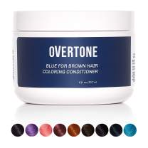 oVertoneHaircare Blue for Brown Hair DeepColoring Conditioner | Gentle Semi-Permanent Hair Color with Shea Butter & Coconut Oil | Safe for All Hair Types | Vegan, Cruelty-Free | 8 oz