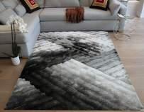 LA Rug Linens Shag Shaggy 3D Plush Indoor Bedroom Living Room Light Silver Dark Silver Light Gray Dark Gray Charcoal Area Rug Carpet Rug 8'x10' Feet Modern Contemporary Decorative Designer Hand Woven