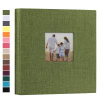 potricher Linen Hardcover Photo Album 4x6 600 Photos Large Capacity for Family Wedding Anniversary Baby Vacation (Green, 600 Pockets)